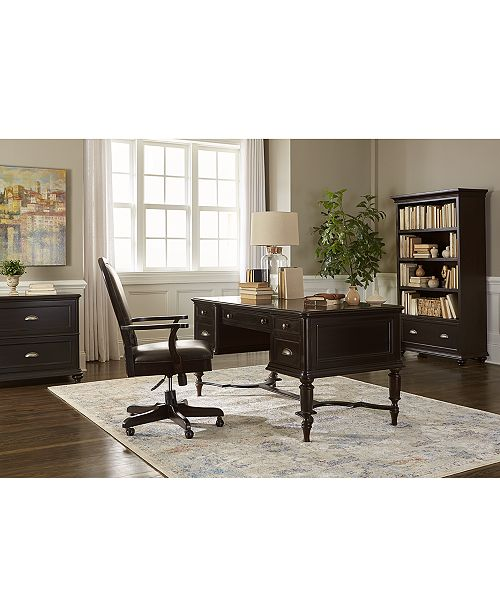 Furniture Clinton Hill Ebony Home Office Furniture Set, 2-Pc. Set (Writing Desk & Upholstered Desk Chair), Created for Macy's