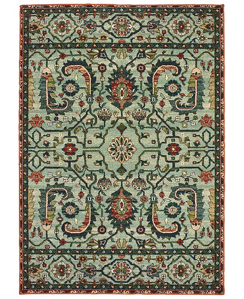 "Oriental Weavers Dawson 8490B Blue/Rust 7'10"" x 10'10"" Area Rug"