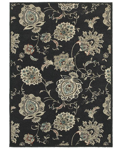 "Oriental Weavers Highlands 2444I Midnight/Ivory 5'3"" x 7'6"" Area Rug"