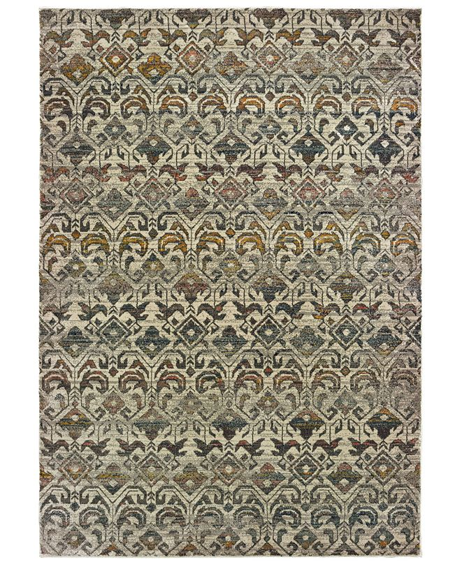 "Oriental Weavers Mantra 1330W Ivory/Gray 2'3"" x 7'6"" Runner Area Rug"