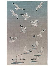 """Liora Manne' Riviera 7651 Seagulls Ocean 7'10"""" Indoor/Outdoor Square Area Rug"""