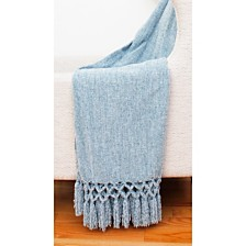 "Dede Chenille Crochet Fringe Decorative Throw, 50"" x 60"""