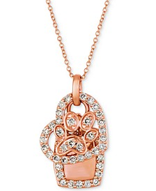"""Nude Diamond Dog Paw Heart 20"""" Pendant Necklace (7/8 ct. t.w.) in 14k Rose Gold"""