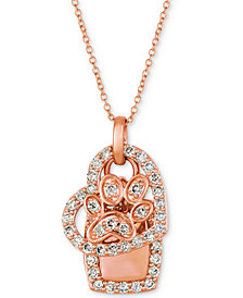 "Le Vian® Nude Diamond Dog Paw Heart 20"" Pendant Necklace (7/8 ct. t.w.) in 14k Rose Gold"
