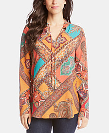 Karen Kane Printed Tie-Neck Long-Sleeve Top