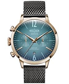 WELDER Men's Gunmetal Stainless Steel Mesh Bracelet Watch 42mm