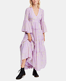 Free People Cotton Printed Carmen Tie-Back Maxi Dress