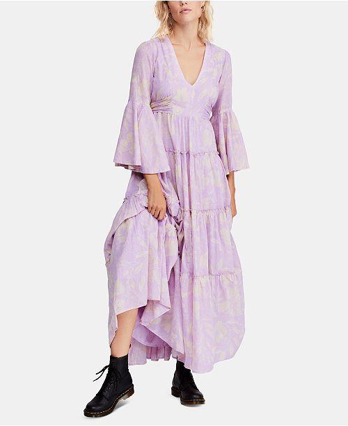 Free People Cotton Printed Carmen Tie-Back Maxi Dress