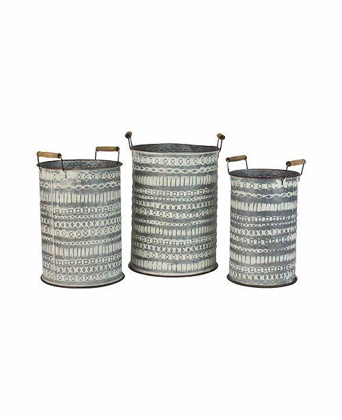 Kalalou Pressed Tin Buckets w/Wooden Handles, Set of 3