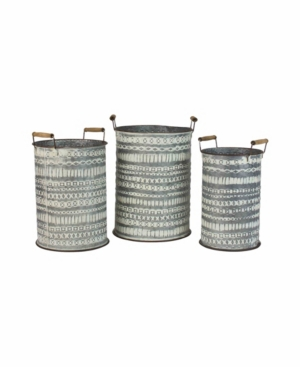 Kalalou Pressed Tin Buckets w/Wooden Handles, Set of 3