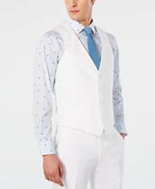Bar III Men's Slim-Fit White Suit Vest, Created for Macy's