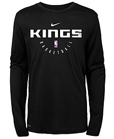Nike Sacramento Kings Long Sleeve Practice T-Shirt, Big Boys (8-20)