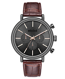 Unlisted Men's Brown Synthetic Leather Sport Watch, 45MM
