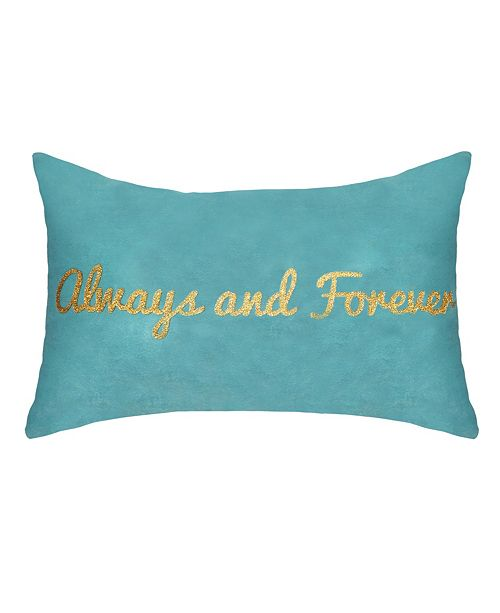 """Edie@Home Celebrations Pillow Metallic Gold Foil Printed """"Always and Forever"""""""