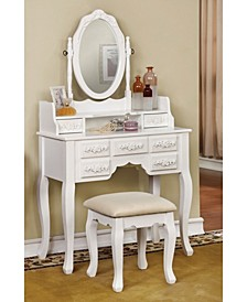 Tamarah Vanity Table with Stool, Quick Ship