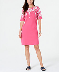 Karen Scott Petite Floral-Print T-Shirt Dress, Created for Macy's