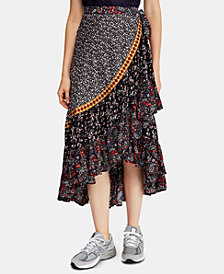Free People Esmeralda Mixed-Print Midi Wrap Skirt