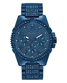 Guess Men's Iconic Blue Stainless Steel Bracelet Watch 48mm, Created for Macy's