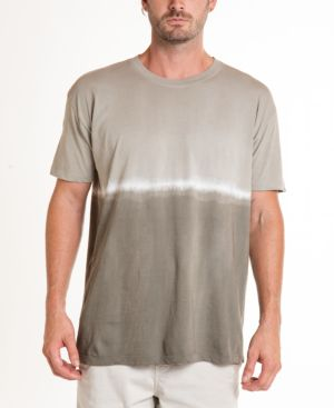 ORIGINAL PAPERBACKS South Sea Double Dip Tie Dye Crewneck Tee in Light Olive/ Dark Olive