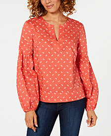 Tommy Hilfiger Printed Cotton Balloon-Sleeve Top, Created for Macy's