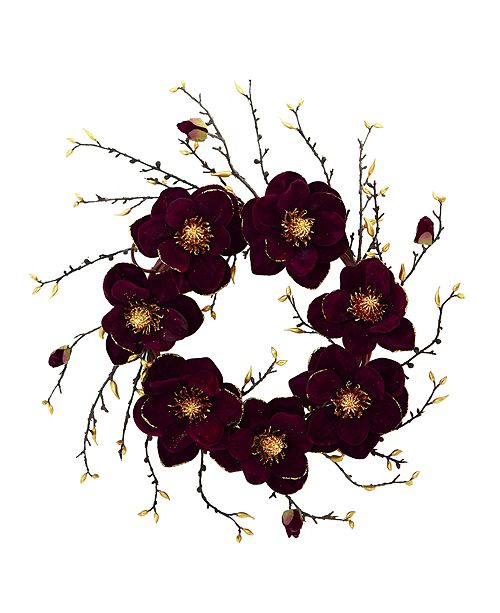 "Nearly Natural 24"" Burgundy & Gold Magnolia Artificial Wreath"