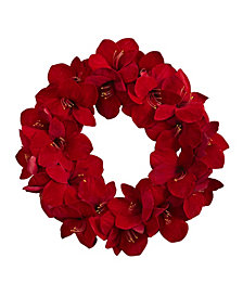 "Nearly Natural 22"" Amaryllis Wreath"