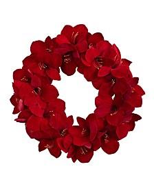 "Nearly Natural 22"" Amaryllis Wreath"