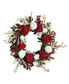 "24"" Hydrangea w/ White Roses Wreath"