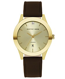 Gold Sunray Brown Smooth Strap Genuine Diamond Watch