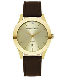 Geoffrey Beene Gold Sunray Brown Smooth Strap Genuine Diamond Watch