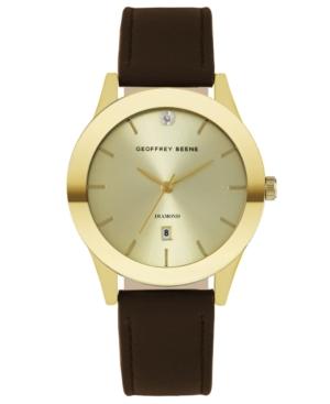 Gold Sunray Brown Smooth Strap Genuine Diamond Watch