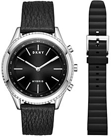 DKNY Women's Minute Woodhaven Black Leather Strap Hybrid Smart Watch 38mm Gift Set, Created for Macy's