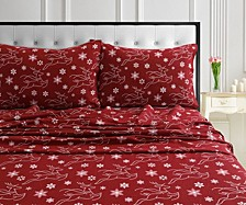 Holiday Print Flannel Extra Deep Pocket Full Sheet Set