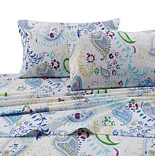 Tribeca Living Paisley Garden 170-GSM Flannel Printed Extra Deep Pocket Twin Flannel Set