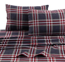 Tribeca Living Heritage Plaid 5-ounce Flannel Printed Extra Deep Pocket Twin XL Sheet Set