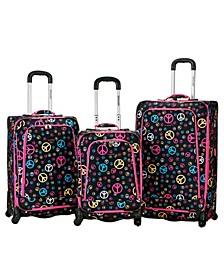 Peace Signs 3PCE Softside Luggage Set