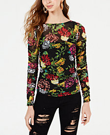 GUESS Camilla Floral-Print Ruched Top
