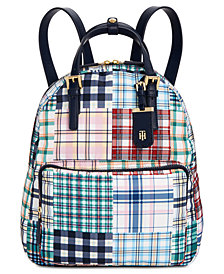 Tommy Hilfiger Double Handle Plaid Patchwork Julia Backpack