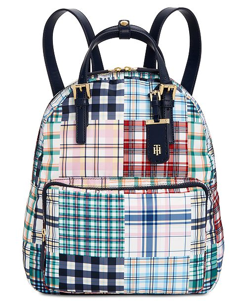 ... Tommy Hilfiger Double Handle Plaid Patchwork Julia Backpack ... ffe2e69b14614
