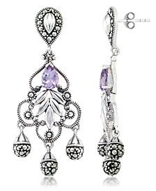 Amethyst (1 ct. t.w.) & Marcasite Chandelier Earrings in Sterling Silver