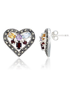 Multi-Color Stones & Marcasite Heart Earrings in Sterling Silver