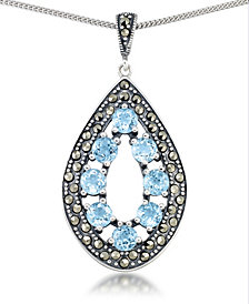 "Blue Topaz (2-3/8 ct. t.w.) &  Marcasite Teardrop Pendant on 18"" Chain in Sterling Silver"