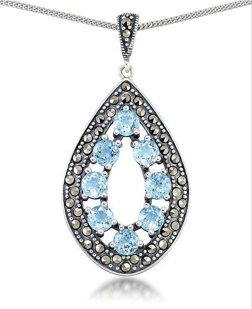 """Macy's Blue Topaz (2-3/8 ct. t.w.) &  Marcasite Teardrop Pendant on 18"""" Chain in Sterling Silver"""