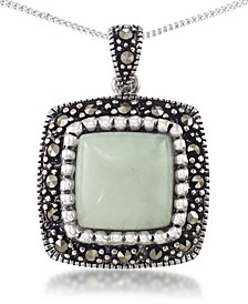 "Jade (11 x 11mm) & Marcasite Square Pendant on 18"" Chain in Sterling Silver"