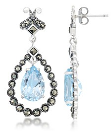 Blue Topaz (8-1/5 ct. t.w.) & Marcasite Teardrop Earrings in Sterling Silver