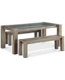 Sava Dining Furniture, 3-Pc. Set (Table & 2 Benches), Created for Macy's