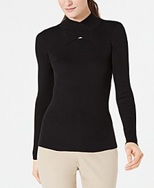 Crossover Mock-Neck Ribbed Sweater