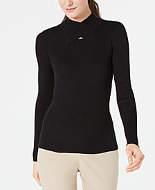 Anne Klein Crossover Mock-Neck Ribbed Sweater