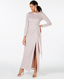 Vince Camuto Long-Sleeve Metallic Ruched Gown