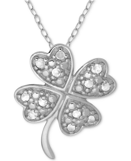 "Macy's Diamond Clover 18"" Pendant Necklace (1/10 ct. t.w.) in Sterling Silver"